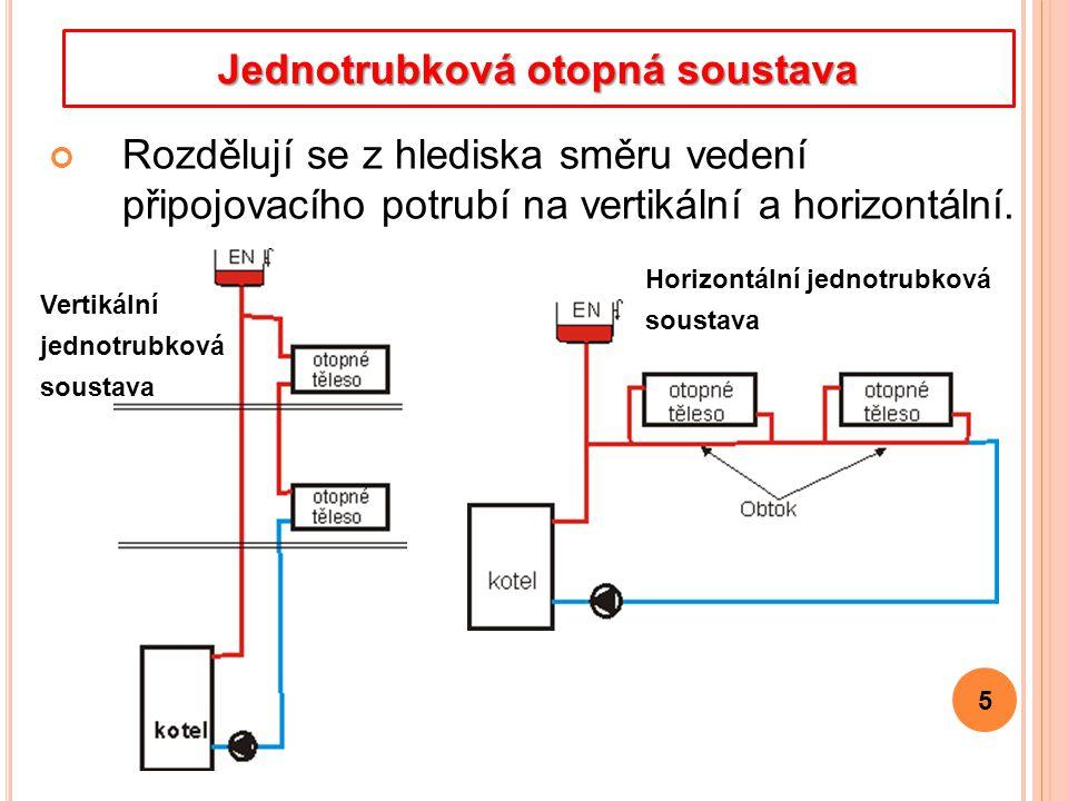Rozdělují se z hlediska směru vedení připojovacího potrubí na vertikální a horizontální. 5 Jednotrubková otopná soustava Horizontální jednotrubková so