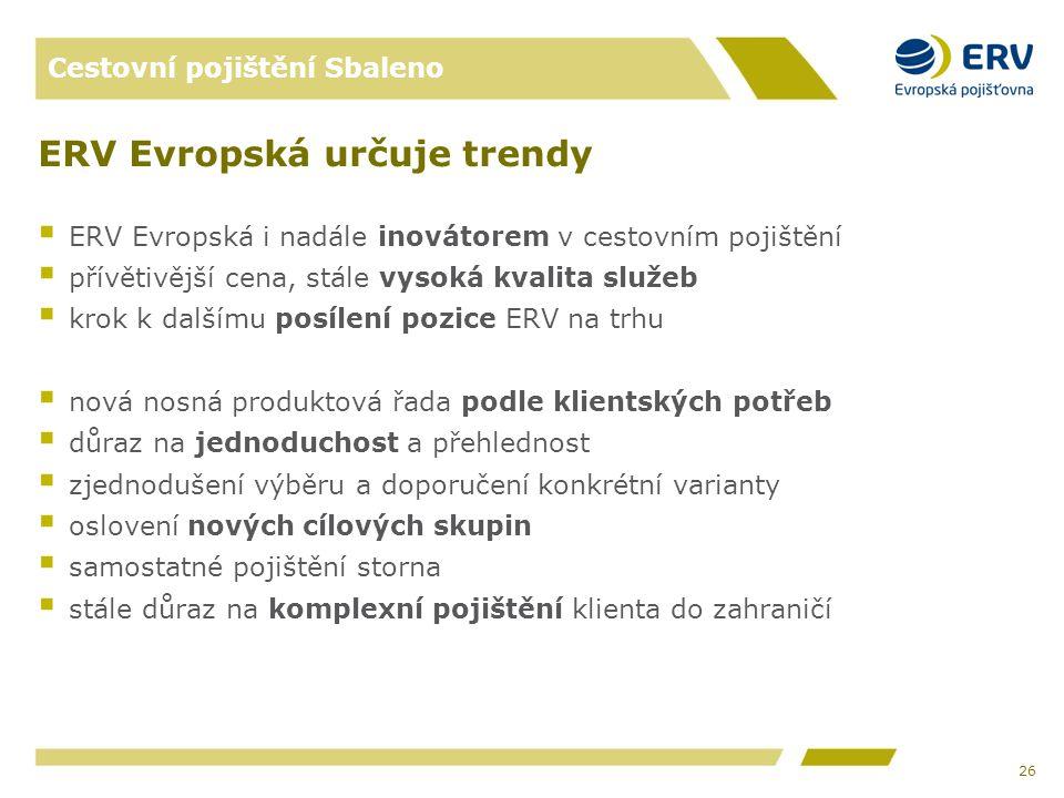 Cestovní pojištění Sbaleno ERV Evropská určuje trendy  ERV Evropská i nadále inovátorem v cestovním pojištění  přívětivější cena, stále vysoká kvalita služeb  krok k dalšímu posílení pozice ERV na trhu  nová nosná produktová řada podle klientských potřeb  důraz na jednoduchost a přehlednost  zjednodušení výběru a doporučení konkrétní varianty  oslovení nových cílových skupin  samostatné pojištění storna  stále důraz na komplexní pojištění klienta do zahraničí 26