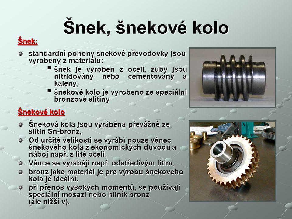 Šnek, šnekové kolo Šnek: standardní pohony šnekové převodovky jsou vyrobeny z materiálů:  šnek je vyroben z oceli, zuby jsou nitridovány nebo cemento