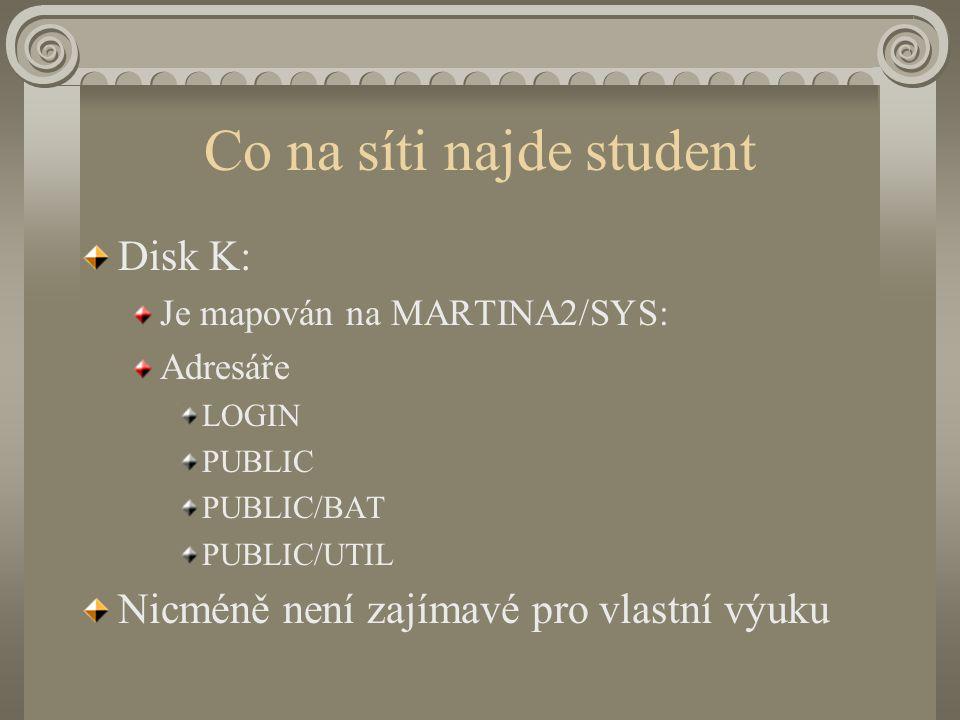 Co na síti najde student Disk K: Je mapován na MARTINA2/SYS: Adresáře LOGIN PUBLIC PUBLIC/BAT PUBLIC/UTIL Nicméně není zajímavé pro vlastní výuku