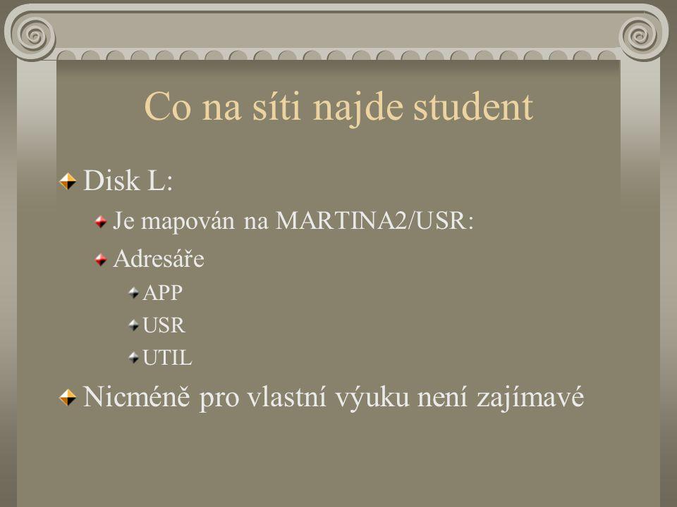 Co na síti najde student Disk L: Je mapován na MARTINA2/USR: Adresáře APP USR UTIL Nicméně pro vlastní výuku není zajímavé