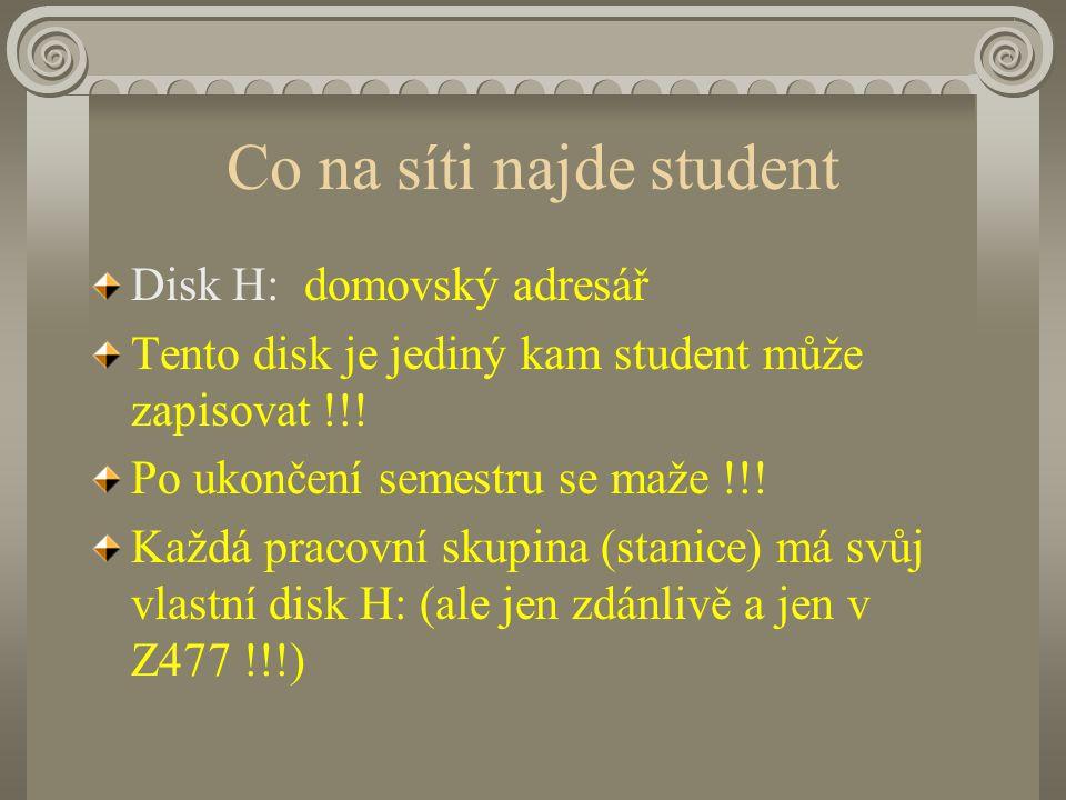 Co na síti najde student Disk H:domovský adresář Tento disk je jediný kam student může zapisovat !!.