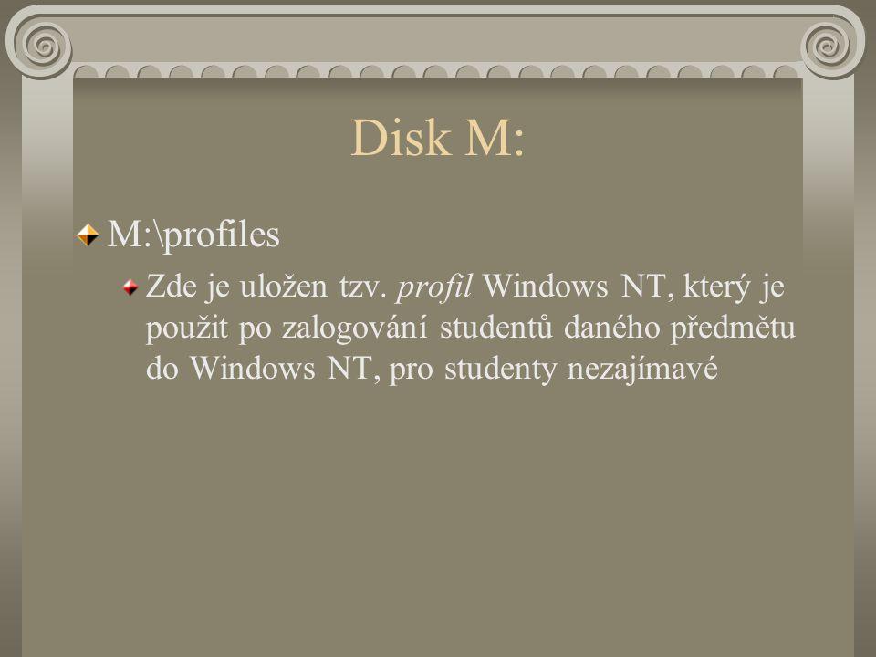Disk M: M:\profiles Zde je uložen tzv.