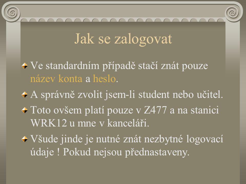 Logovací údaje - student NOVELL Tree:K-313 Context: vyuka.z477 server: MARTINA2 Pokud se při logování hlásí chyba zkontrolujte tyto údaje !