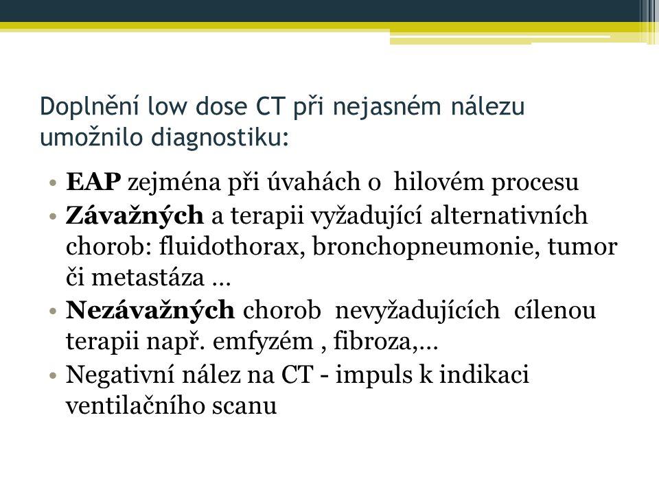 Doplnění low dose CT při nejasném nálezu umožnilo diagnostiku: EAP zejména při úvahách o hilovém procesu Závažných a terapii vyžadující alternativních chorob: fluidothorax, bronchopneumonie, tumor či metastáza … Nezávažných chorob nevyžadujících cílenou terapii např.