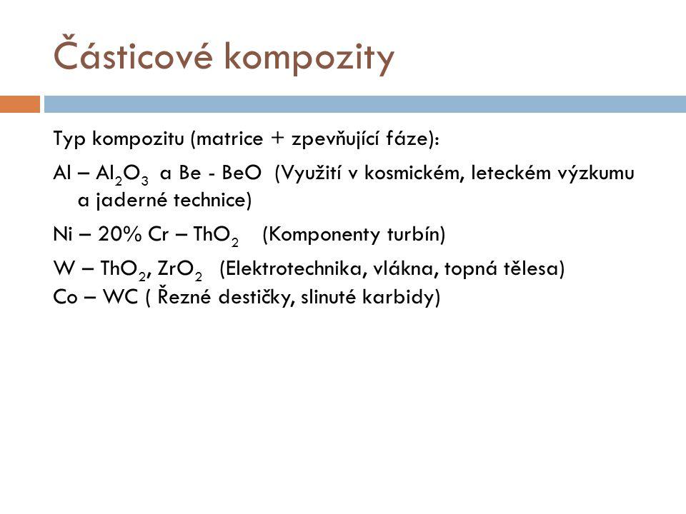 Částicové kompozity Typ kompozitu (matrice + zpevňující fáze): Al – Al 2 O 3 a Be - BeO (Využití v kosmickém, leteckém výzkumu a jaderné technice) Ni
