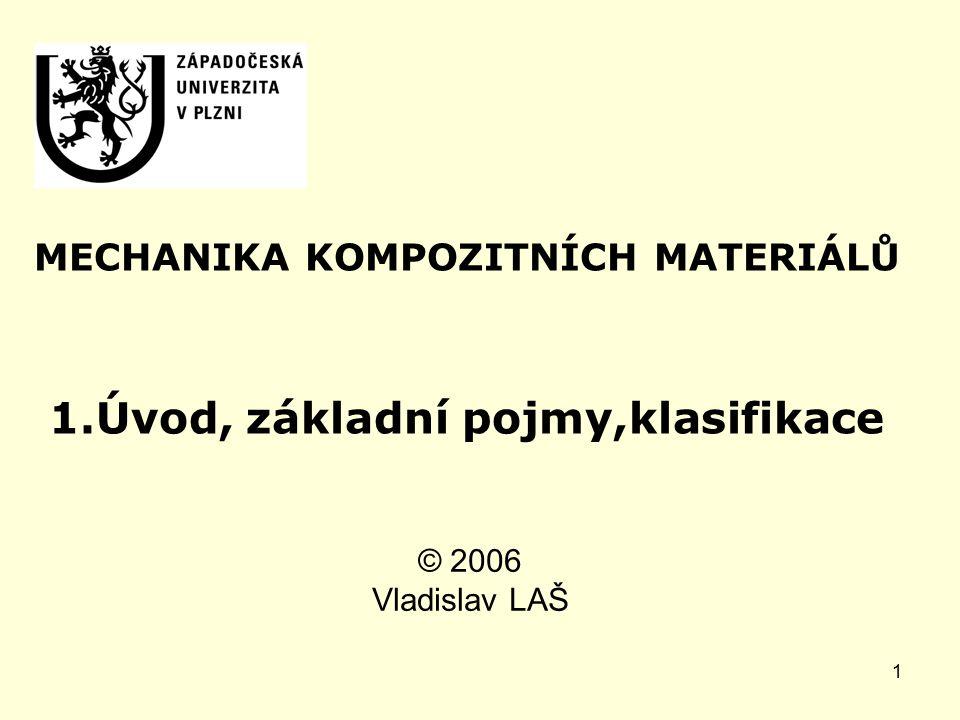 1 MECHANIKA KOMPOZITNÍCH MATERIÁLŮ 1.Úvod, základní pojmy,klasifikace © 2006 Vladislav LAŠ