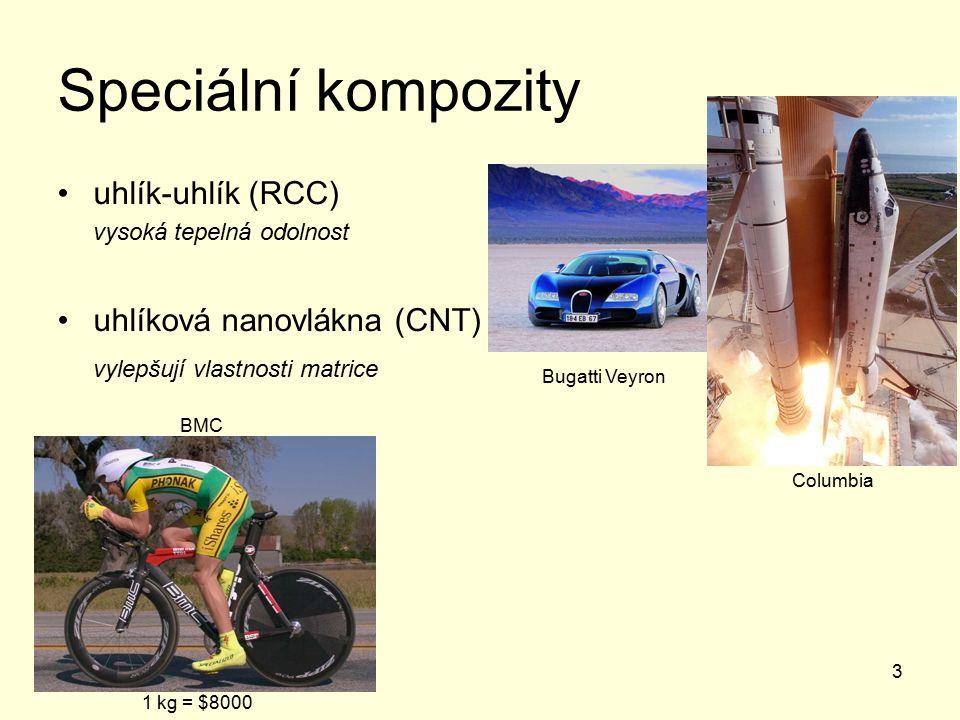 3 Speciální kompozity uhlík-uhlík (RCC) vysoká tepelná odolnost uhlíková nanovlákna (CNT) vylepšují vlastnosti matrice 1 kg = $8000 Columbia Bugatti Veyron BMC