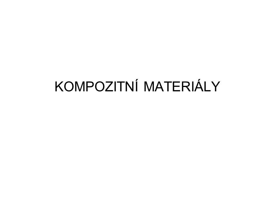 Aramidová vlákna– aromatický polyamid (12 μm) –nejnižší hustota, vysoká tahová pevnost a odolnost rázovému namáhání, chemická odolnost –pohlcování vlhkosti, nízká pevnost v tlaku, degradace při slunečním záření, vyšší cena oproti skleněným vláknům –vylehčení kompozitních konstrukcí, velmi často v kombinaci se skleněnými nebo uhlíkovými vlákny –typy vláken: aramid LM (Low Modulus), aramid HM (High Modulus) a aramid UHM (Ultra High Modulus) –nejznámnější obchodní značky Kevlar (výrobce Du Pont) – Kevlar 29 (balistika), Kevlar 49, Kevlar 149 Twaron (výrobce Teijin Aramid BV) Bórová vlákna –výroba vylučováním bóru z plynného BCl 3 na povrchu rozžhaveného wolframového nebo uhlíkového vlákna o průměru ~ 0,1 mm –vysoká pevnost v tlaku, vysoký modul pružnosti, vysoká tepelná odolnost –velký průměr, křehkost, vyšší hustota, vysoká cena