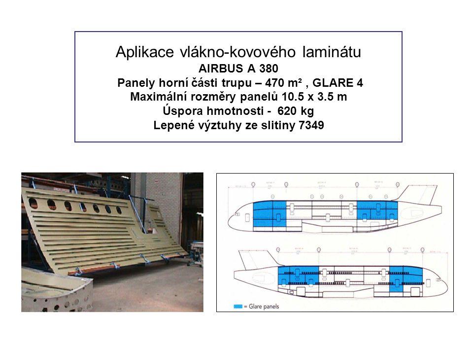 Aplikace vlákno-kovového laminátu AIRBUS A 380 Panely horní části trupu – 470 m², GLARE 4 Maximální rozměry panelů 10.5 x 3.5 m Úspora hmotnosti - 620