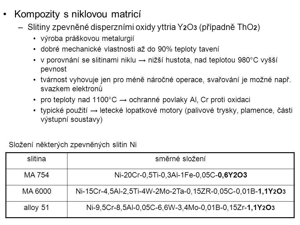 Kompozity s niklovou matricí –Slitiny zpevněné disperzními oxidy yttria Y 2 O 3 (případně ThO 2 ) výroba práškovou metalurgií dobré mechanické vlastno