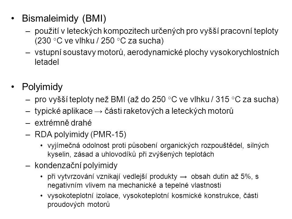 Bismaleimidy (BMI) –použití v leteckých kompozitech určených pro vyšší pracovní teploty (230 °C ve vlhku / 250 °C za sucha) –vstupní soustavy motorů,