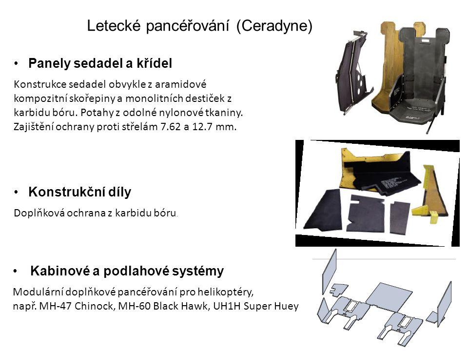 Letecké pancéřování (Ceradyne) Panely sedadel a křídel Konstrukce sedadel obvykle z aramidové kompozitní skořepiny a monolitních destiček z karbidu bó