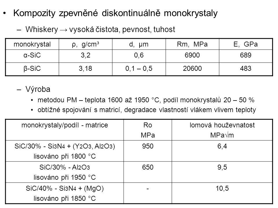 Kompozity zpevněné diskontinuálně monokrystaly –Whiskery → vysoká čistota, pevnost, tuhost –Výroba metodou PM – teplota 1600 až 1950 °C, podíl monokry