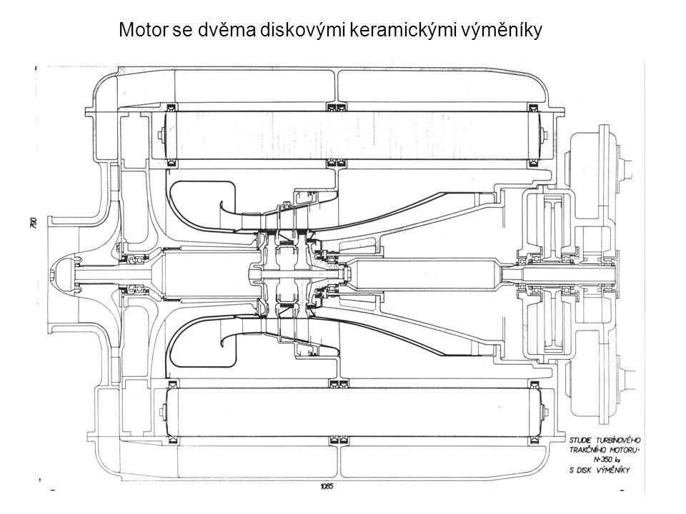 Motor se dvěma diskovými keramickými výměníky