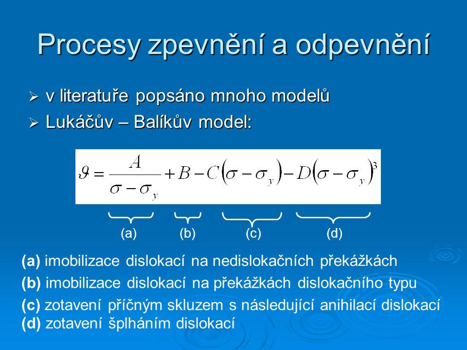 Procesy zpevnění a odpevnění  v literatuře popsáno mnoho modelů  Lukáčův – Balíkův model: (a)(b)(c)(d) (a) imobilizace dislokací na nedislokačních překážkách (b) imobilizace dislokací na překážkách dislokačního typu (c) zotavení příčným skluzem s následující anihilací dislokací (d) zotavení šplháním dislokací