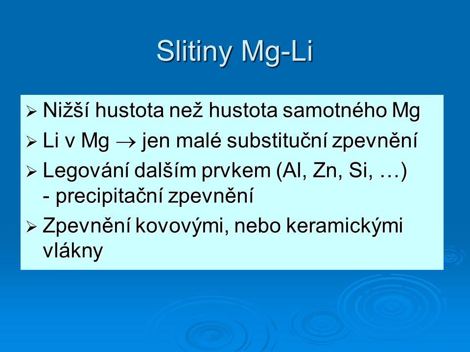 Slitiny Mg-Li  Nižší hustota než hustota samotného Mg  Li v Mg  jen malé substituční zpevnění  Legování dalším prvkem (Al, Zn, Si, …) - precipitační zpevnění  Zpevnění kovovými, nebo keramickými vlákny