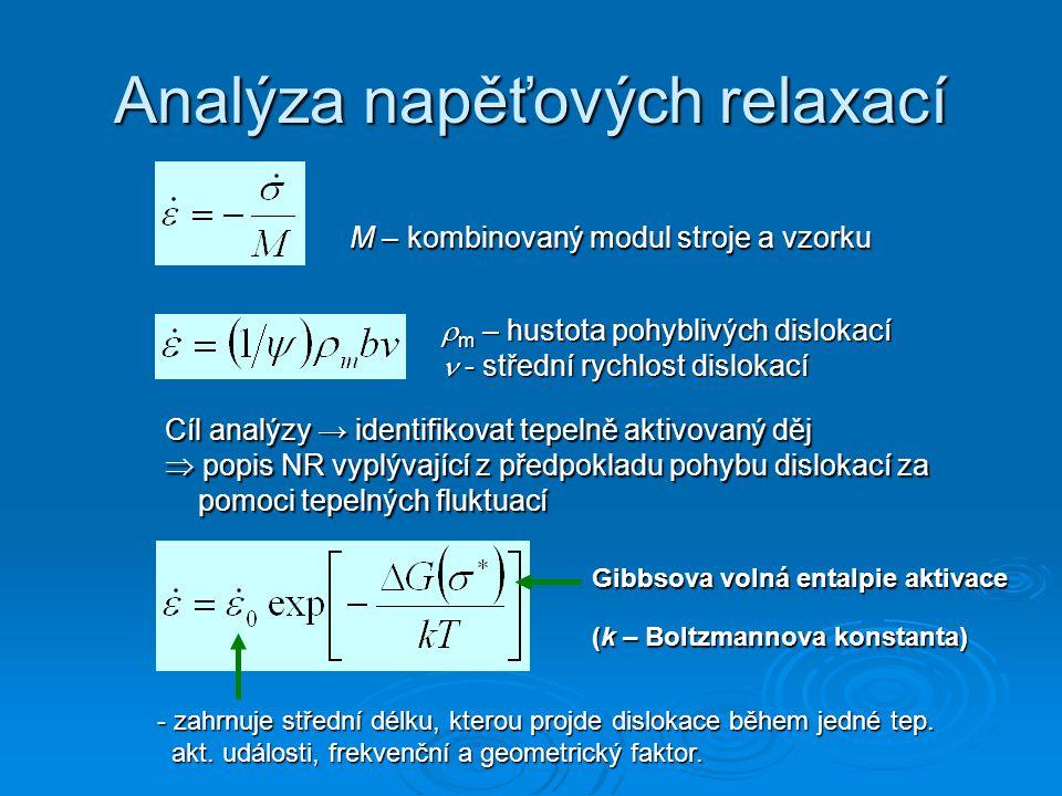 Analýza napěťových relaxací M – kombinovaný modul stroje a vzorku  m – hustota pohyblivých dislokací - střední rychlost dislokací Cíl analýzy → identifikovat tepelně aktivovaný děj  popis NR vyplývající z předpokladu pohybu dislokací za pomoci tepelných fluktuací Gibbsova volná entalpie aktivace (k – Boltzmannova konstanta) - zahrnuje střední délku, kterou projde dislokace během jedné tep.