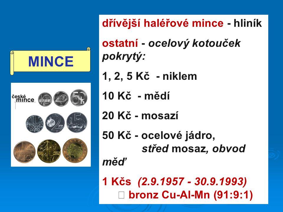 dřívější haléřové mince - hliník ostatní - ocelový kotouček pokrytý: 1, 2, 5 Kč - niklem 10 Kč - mědí 20 Kč - mosazí 50 Kč - ocelové jádro, střed mosaz, obvod měď 1 Kčs (2.9.1957 - 30.9.1993)  bronz Cu-Al-Mn (91:9:1) MINCE