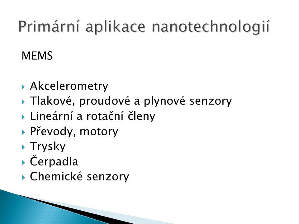 MEMS  Akcelerometry  Tlakové, proudové a plynové senzory  Lineární a rotační členy  Převody, motory  Trysky  Čerpadla  Chemické senzory
