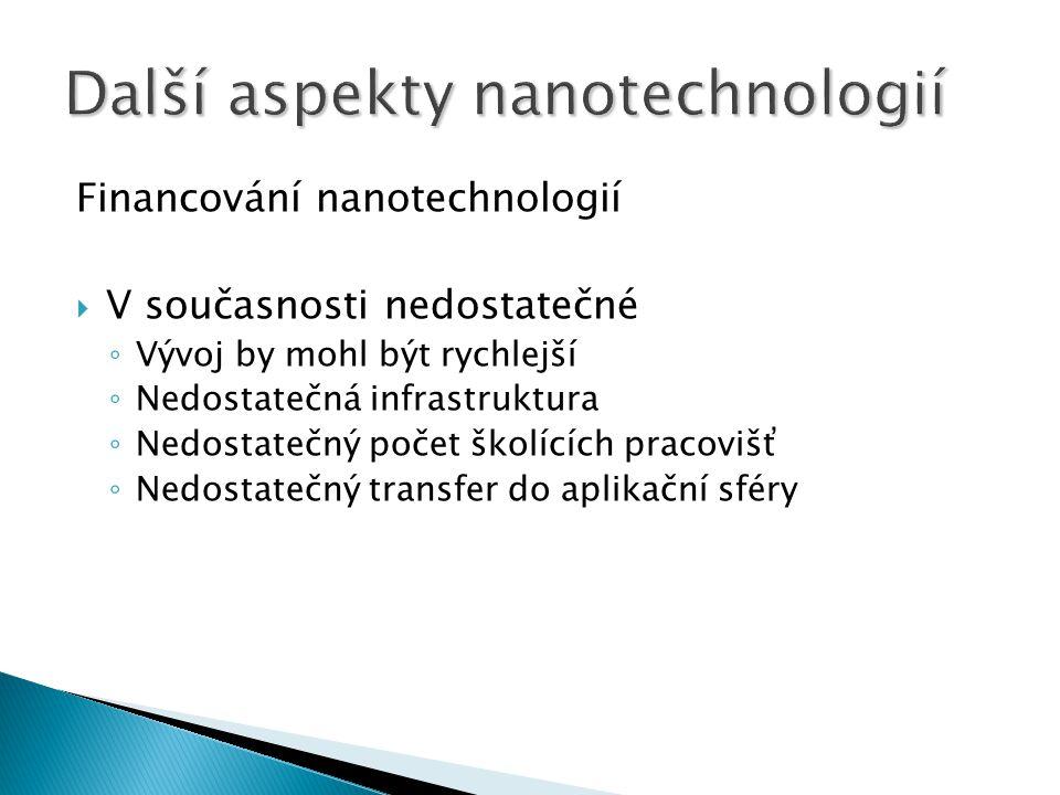 Financování nanotechnologií  V současnosti nedostatečné ◦ Vývoj by mohl být rychlejší ◦ Nedostatečná infrastruktura ◦ Nedostatečný počet školících pr
