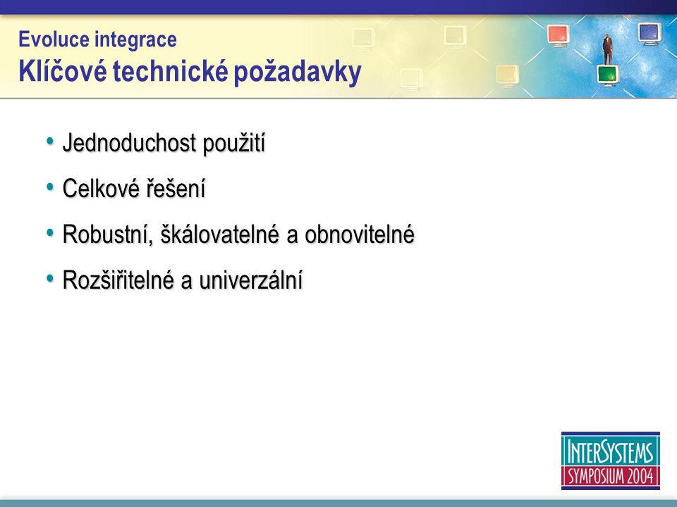 Evoluce integrace Klíčové technické požadavky Jednoduchost použití Jednoduchost použití Celkové řešení Celkové řešení Robustní, škálovatelné a obnovit