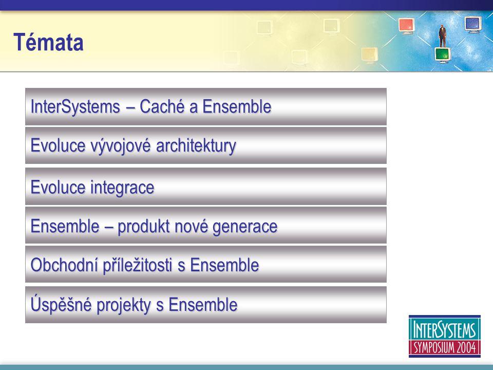 Témata InterSystems – Caché a Ensemble Evoluce vývojové architektury Evoluce integrace Ensemble – produkt nové generace Obchodní příležitosti s Ensemble Úspěšné projekty s Ensemble