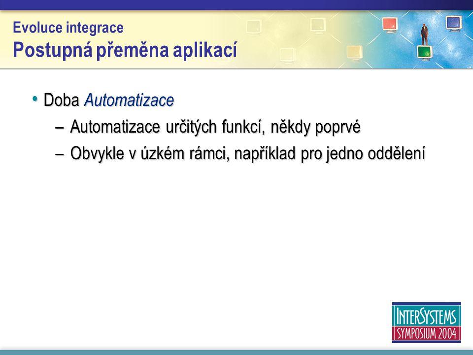 Evoluce integrace Postupná přeměna aplikací Doba Automatizace Doba Automatizace –Automatizace určitých funkcí, někdy poprvé –Obvykle v úzkém rámci, například pro jedno oddělení