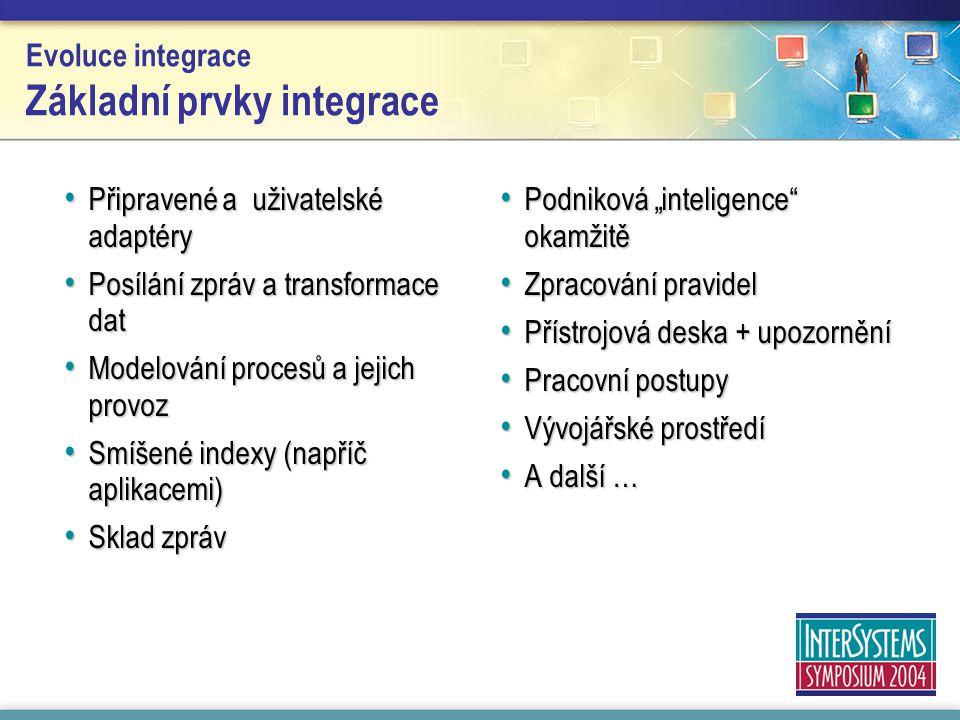 """Evoluce integrace Základní prvky integrace Připravené a uživatelské adaptéry Připravené a uživatelské adaptéry Posílání zpráv a transformace dat Posílání zpráv a transformace dat Modelování procesů a jejich provoz Modelování procesů a jejich provoz Smíšené indexy (napříč aplikacemi) Smíšené indexy (napříč aplikacemi) Sklad zpráv Sklad zpráv Podniková """"inteligence okamžitě Podniková """"inteligence okamžitě Zpracování pravidel Zpracování pravidel Přístrojová deska + upozornění Přístrojová deska + upozornění Pracovní postupy Pracovní postupy Vývojářské prostředí Vývojářské prostředí A další … A další …"""