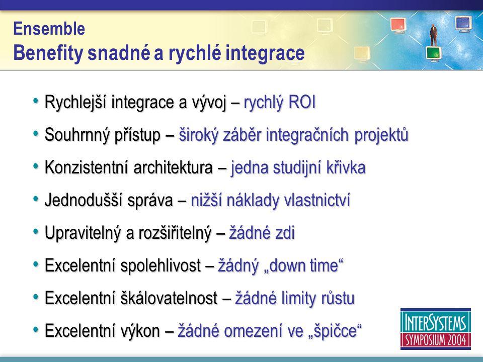 Ensemble Benefity snadné a rychlé integrace Rychlejší integrace a vývoj – rychlý ROI Rychlejší integrace a vývoj – rychlý ROI Souhrnný přístup – širok