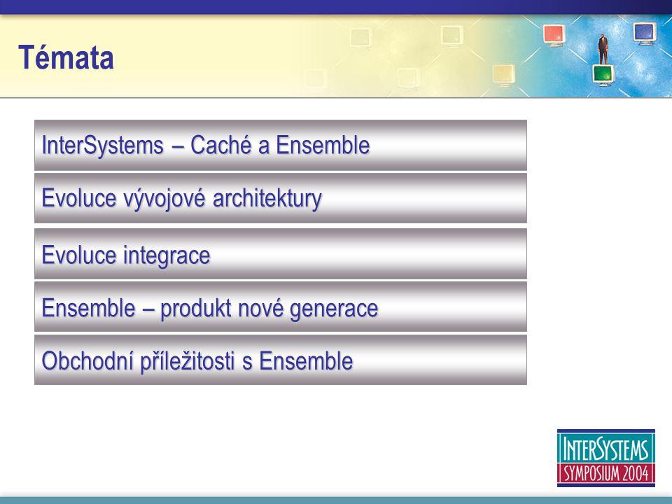 Témata InterSystems – Caché a Ensemble Evoluce vývojové architektury Evoluce integrace Ensemble – produkt nové generace Obchodní příležitosti s Ensemble