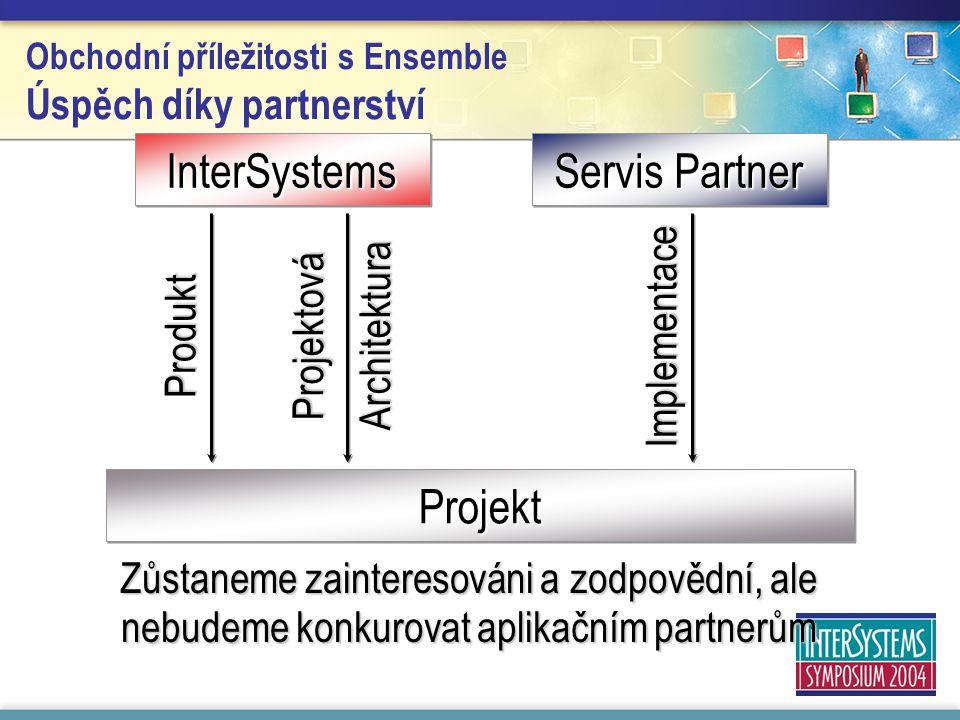 Obchodní příležitosti s Ensemble Úspěch díky partnerstvíInterSystemsInterSystems Servis Partner Projekt Implementace Produkt Projektová Architektura Zůstaneme zainteresováni a zodpovědní, ale nebudeme konkurovat aplikačním partnerům