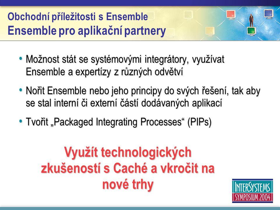 Obchodní příležitosti s Ensemble Ensemble pro aplikační partnery Možnost stát se systémovými integrátory, využívat Ensemble a expertízy z různých odvě