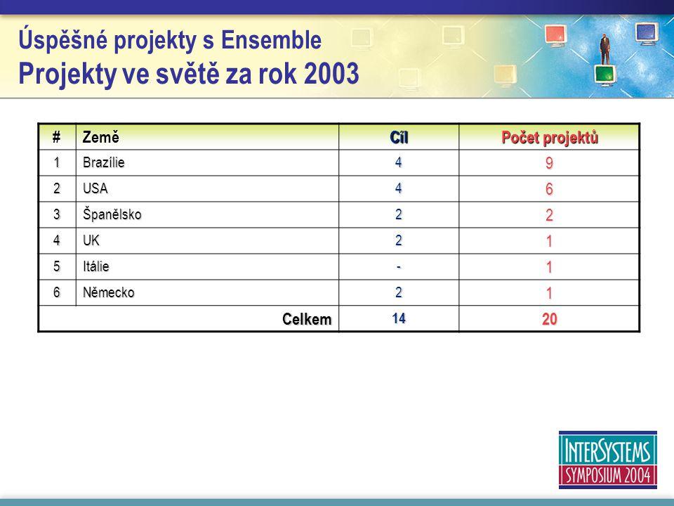Úspěšné projekty s Ensemble Projekty ve světě za rok 2003 #ZeměCíl Počet projektů 1 Brazílie 49 2USA46 3Španělsko22 4UK21 5 Itálie -1 6Německo21 Celkem1420