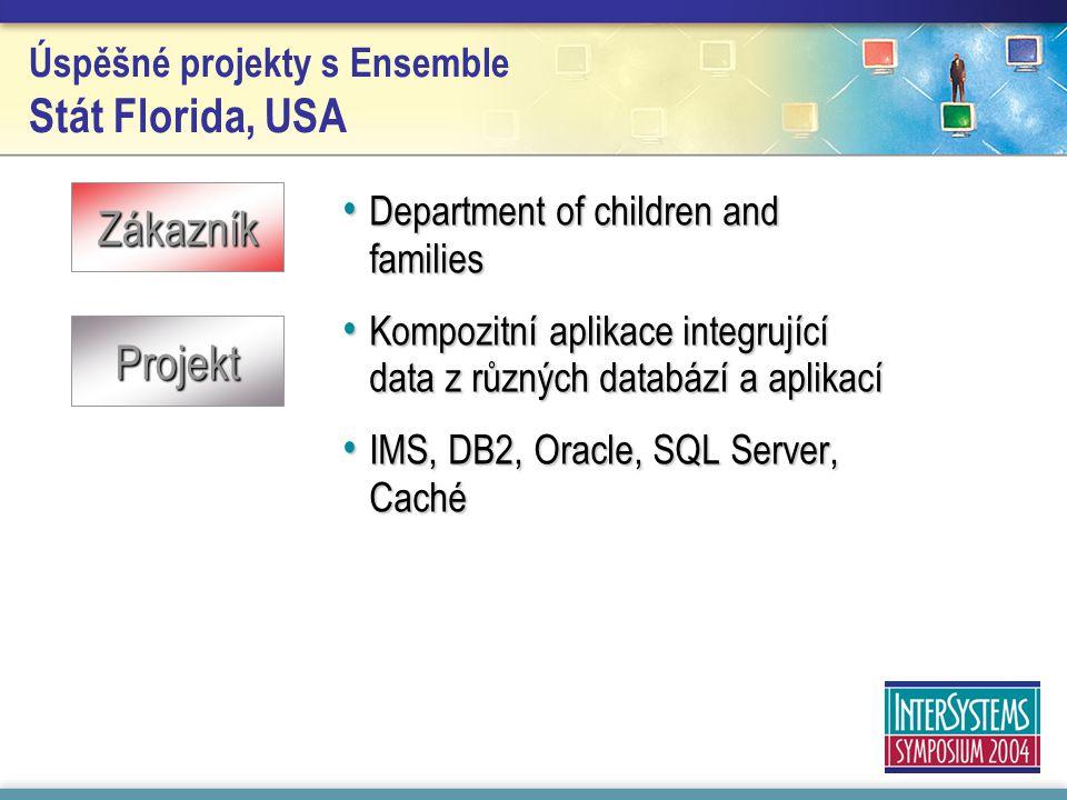 Úspěšné projekty s Ensemble Stát Florida, USA Department of children and families Department of children and families Kompozitní aplikace integrující data z různých databází a aplikací Kompozitní aplikace integrující data z různých databází a aplikací IMS, DB2, Oracle, SQL Server, Caché IMS, DB2, Oracle, SQL Server, Caché Zákazník Projekt