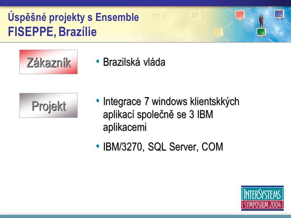 Úspěšné projekty s Ensemble FISEPPE, Brazílie Brazilská vláda Brazilská vláda Integrace 7 windows klientskkých aplikací společně se 3 IBM aplikacemi Integrace 7 windows klientskkých aplikací společně se 3 IBM aplikacemi IBM/3270, SQL Server, COM IBM/3270, SQL Server, COM Zákazník Projekt