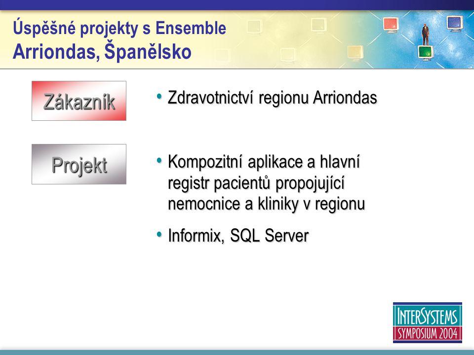 Úspěšné projekty s Ensemble Arriondas, Španělsko Zdravotnictví regionu Arriondas Zdravotnictví regionu Arriondas Kompozitní aplikace a hlavní registr pacientů propojující nemocnice a kliniky v regionu Kompozitní aplikace a hlavní registr pacientů propojující nemocnice a kliniky v regionu Informix, SQL Server Informix, SQL Server Zákazník Projekt