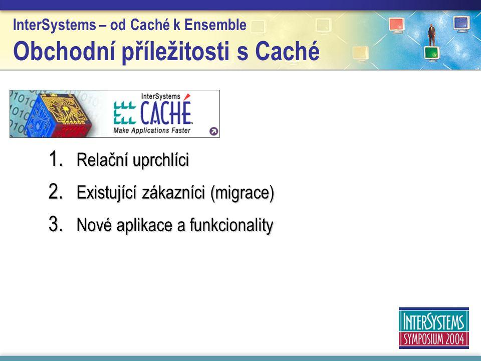 InterSystems – od Caché k Ensemble Obchodní příležitosti s Caché 1. Relační uprchlíci 2. Existující zákazníci (migrace) 3. Nové aplikace a funkcionali