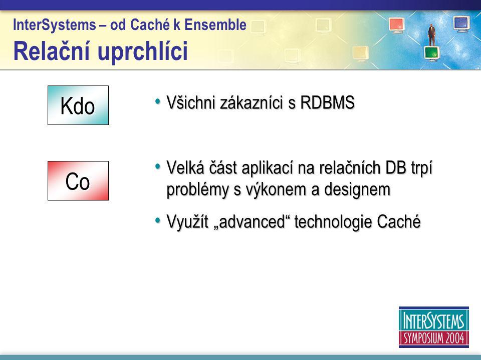 InterSystems – od Caché k Ensemble Relační uprchlíci Všichni zákazníci s RDBMS Všichni zákazníci s RDBMS Velká část aplikací na relačních DB trpí prob