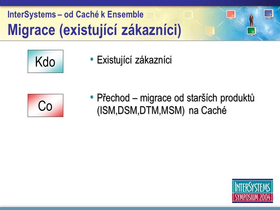 InterSystems – od Caché k Ensemble Migrace (existující zákazníci) Existující zákazníci Existující zákazníci Přechod – migrace od starších produktů (IS