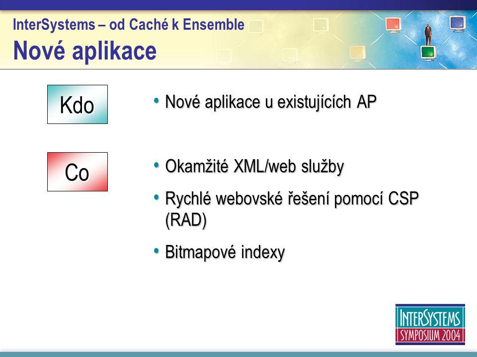InterSystems – od Caché k Ensemble Nové aplikace Nové aplikace u existujících AP Nové aplikace u existujících AP Okamžité XML/web služby Okamžité XML/web služby Rychlé webovské řešení pomocí CSP (RAD) Rychlé webovské řešení pomocí CSP (RAD) Bitmapové indexy Bitmapové indexy Kdo Co