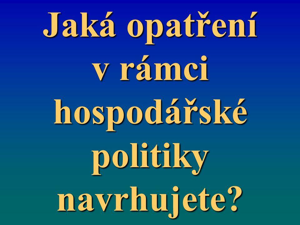 Jaká opatření v rámci hospodářské politiky navrhujete?