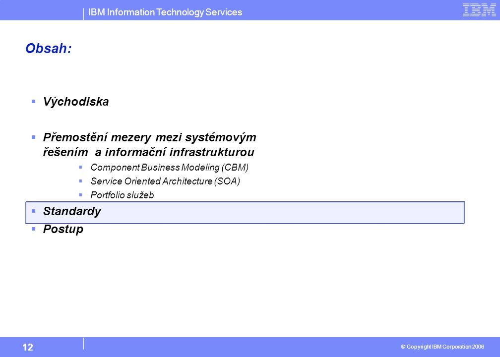 IBM Information Technology Services © Copyright IBM Corporation 2006 12 Obsah:  Východiska  Přemostění mezery mezi systémovým řešením a informační infrastrukturou  Component Business Modeling (CBM)  Service Oriented Architecture (SOA)  Portfolio služeb  Standardy  Postup