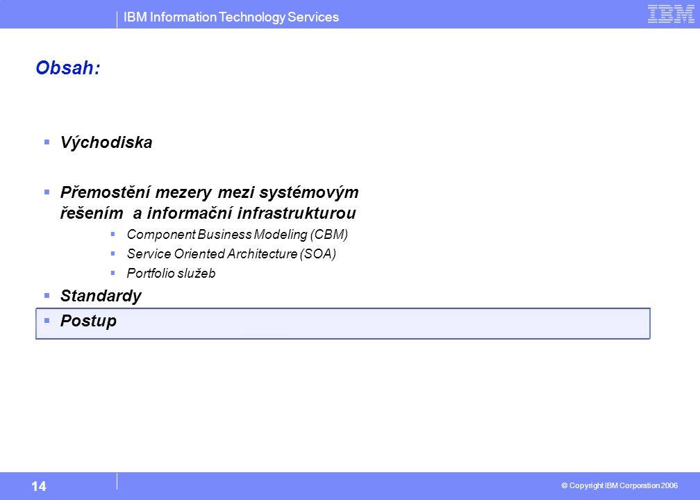 IBM Information Technology Services © Copyright IBM Corporation 2006 14 Obsah:  Východiska  Přemostění mezery mezi systémovým řešením a informační infrastrukturou  Component Business Modeling (CBM)  Service Oriented Architecture (SOA)  Portfolio služeb  Standardy  Postup