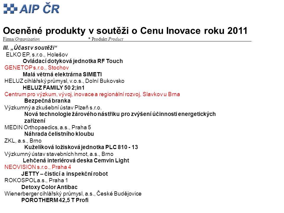 """Oceněné produkty v soutěži o Cenu Inovace roku 2011 Firma/Organisation* Produkt/Product_________ III. """"Účast v soutěži"""" ELKO EP, s.r.o., Holešov Ovlád"""