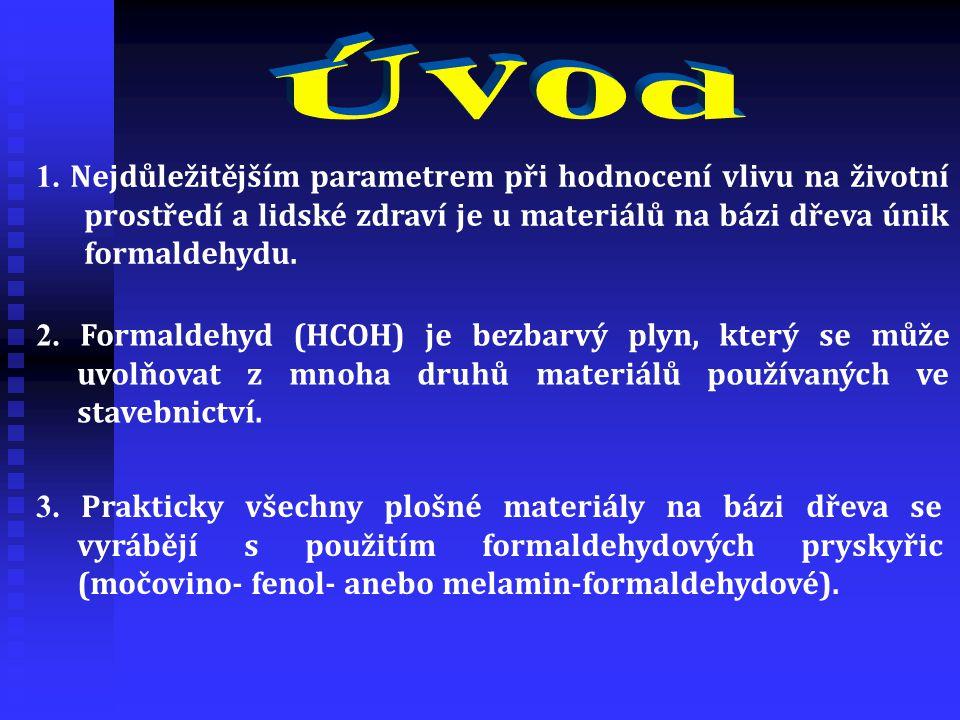 1. Nejdůležitějším parametrem při hodnocení vlivu na životní prostředí a lidské zdraví je u materiálů na bázi dřeva únik formaldehydu. 2. Formaldehyd