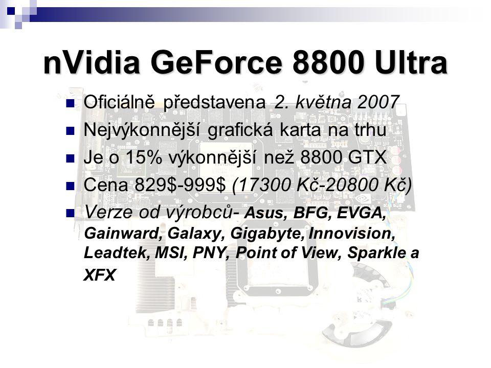 nVidia GeForce 8800 Ultra Oficiálně představena 2. května 2007 Nejvýkonnější grafická karta na trhu Je o 15% výkonnější než 8800 GTX Cena 829$-999$ (1