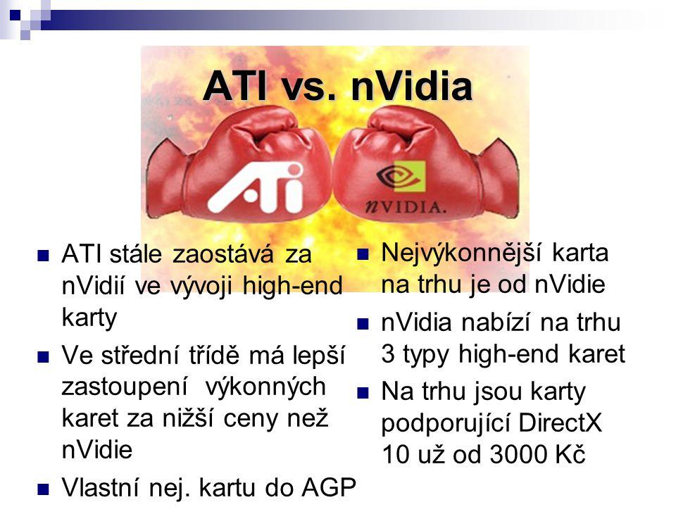 Nejvýkonnější karta na trhu je od nVidie nVidia nabízí na trhu 3 typy high-end karet Na trhu jsou karty podporující DirectX 10 už od 3000 Kč ATI stále