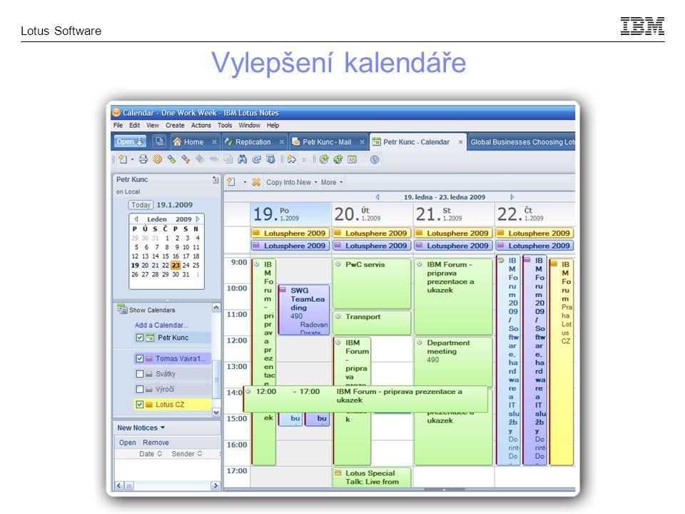 Lotus Software Vylepšení kalendáře