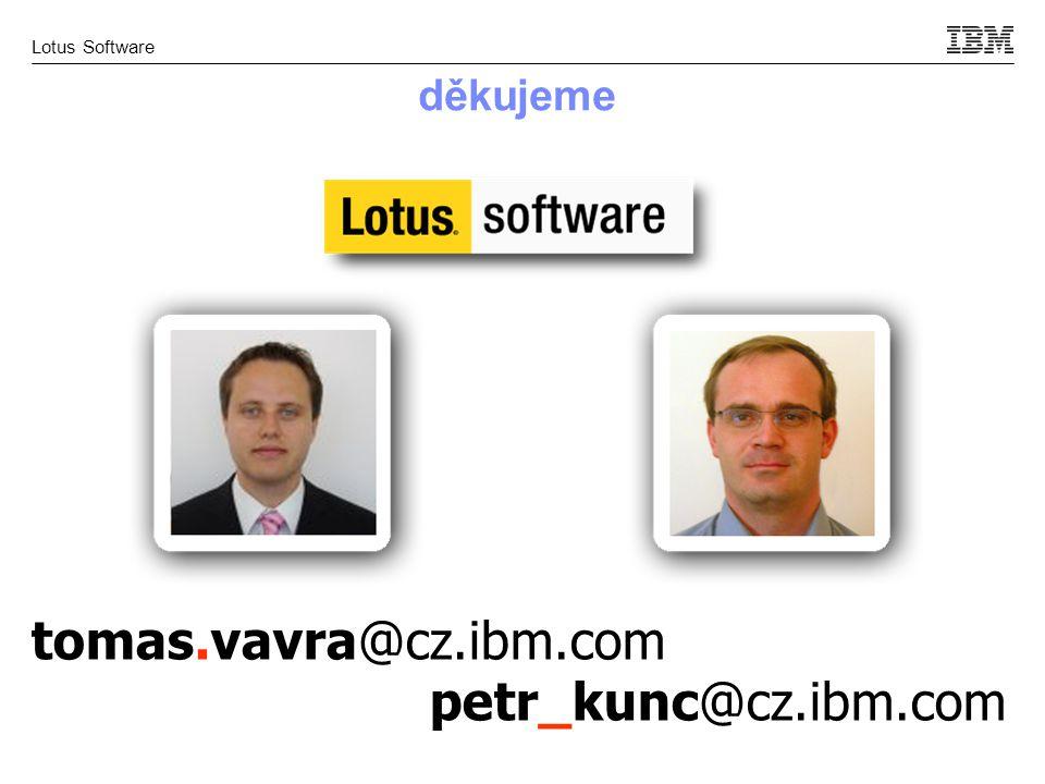 Lotus Software děkujeme tomas.vavra@cz.ibm.com petr_kunc@cz.ibm.com